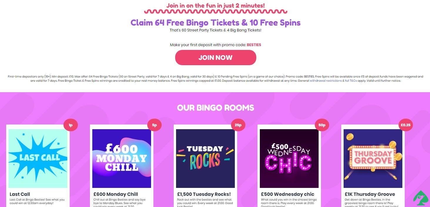 Bingo Besties bonus offers