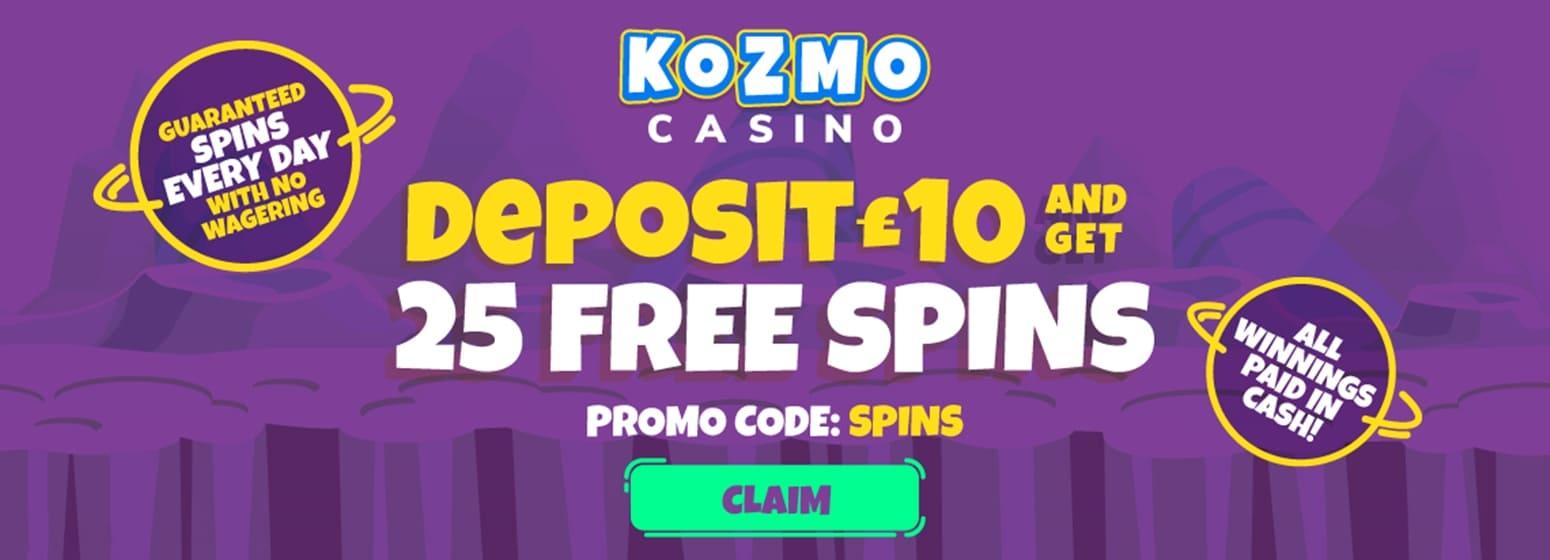 kozmo casino 25 free spins