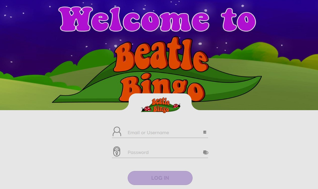 Beatle Bingo login page