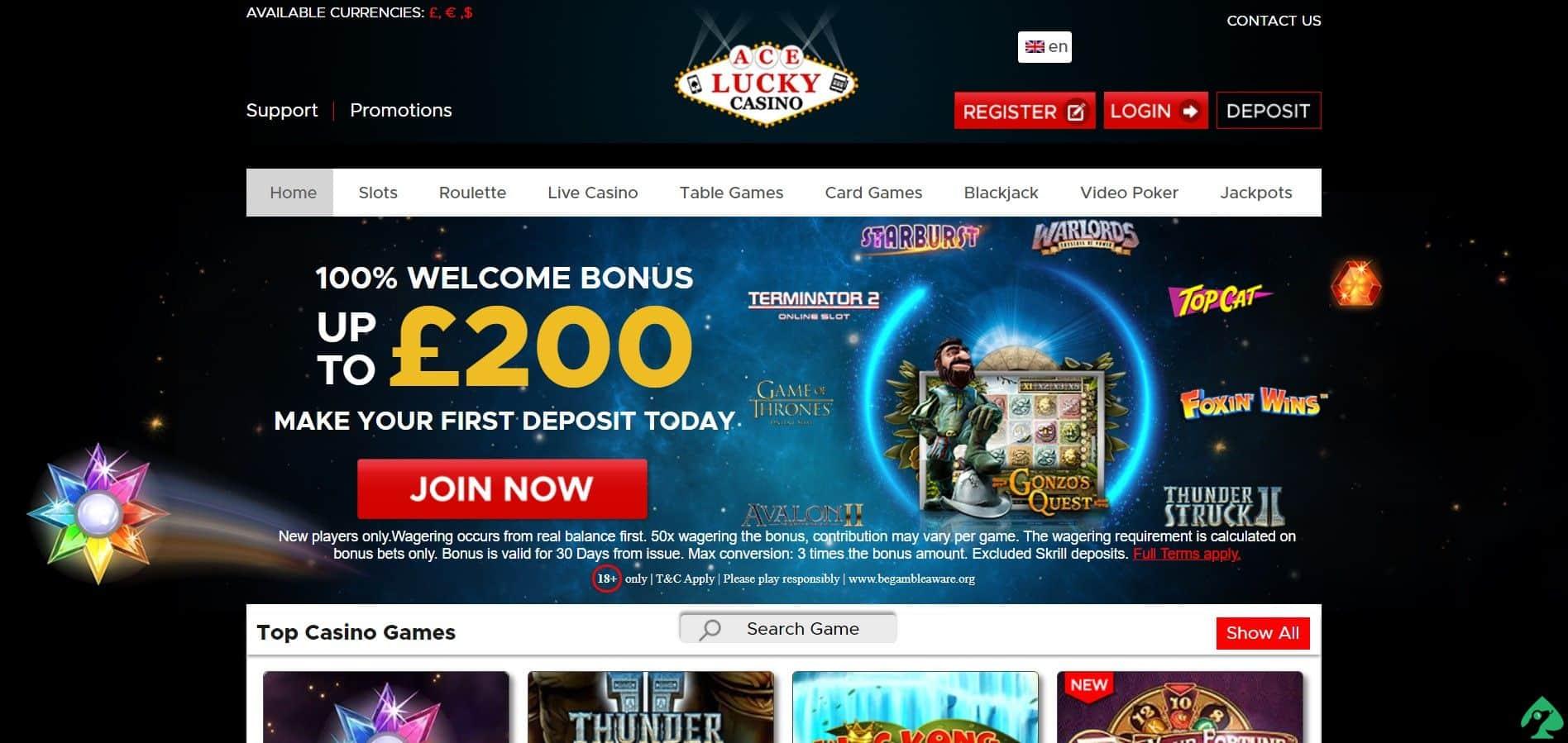 aceluckycasino.com bonus codes