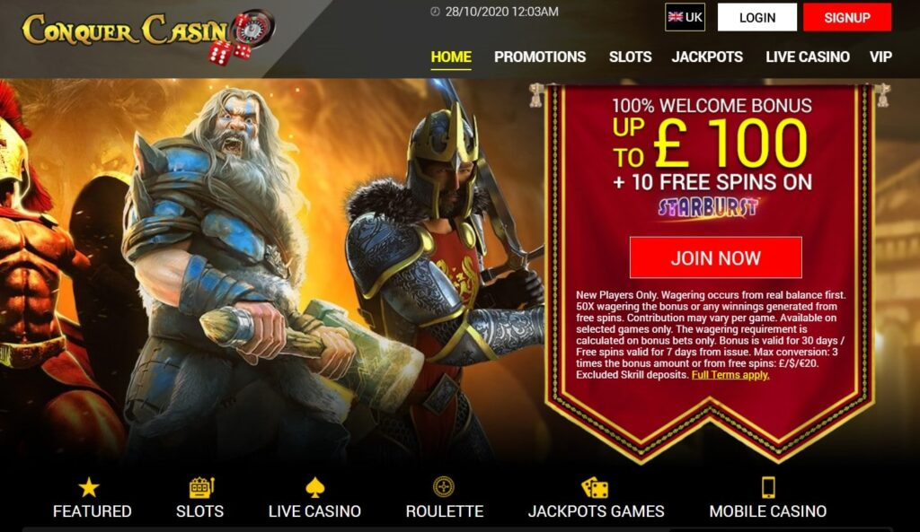 conquer casino main page