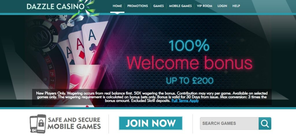 dazzle casino homepage