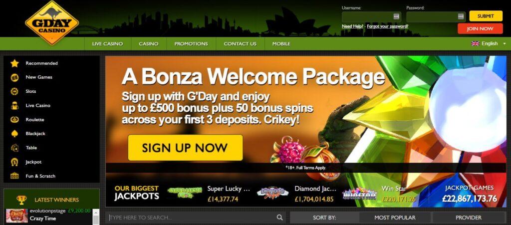 gday casino main page