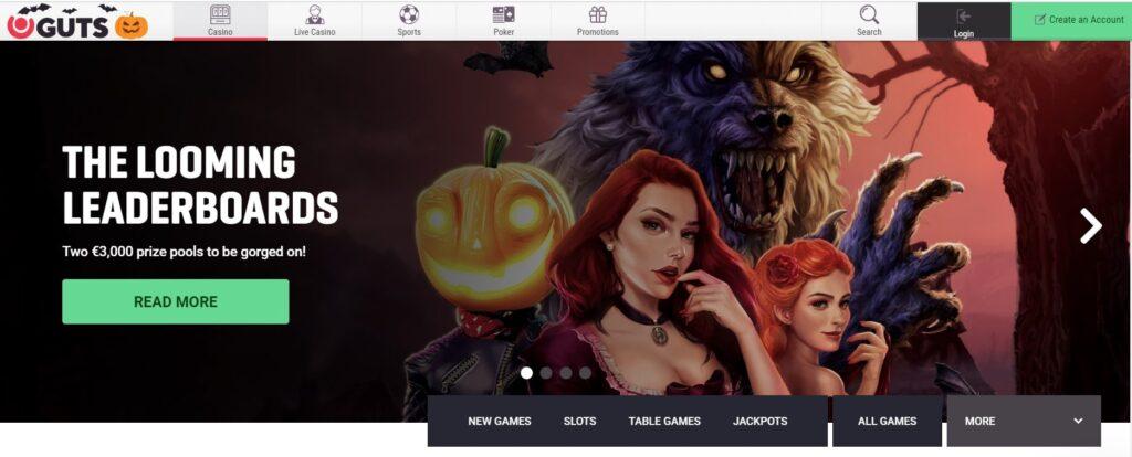 guts casino main page