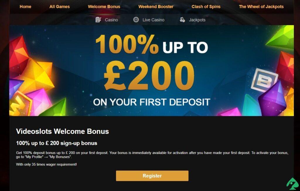 videoslots.com welcome bonus