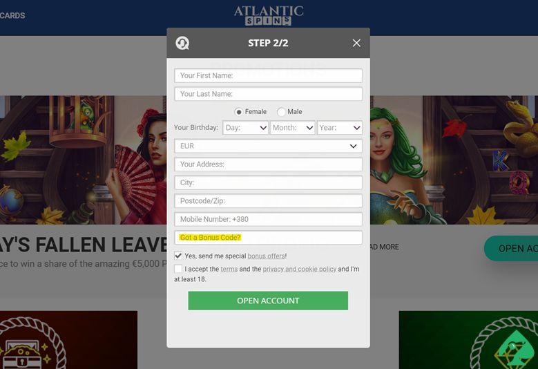 Activate Atlantic Spins Bonus Code