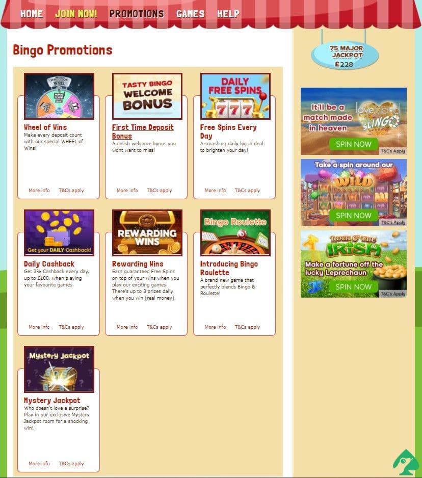 tasty bingo bonus codes