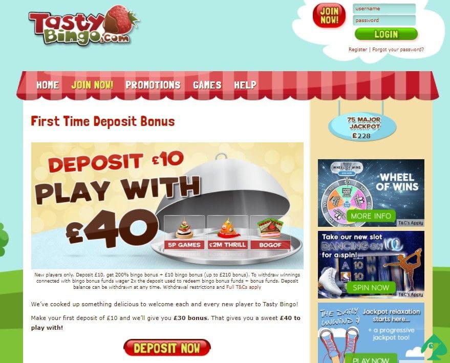 tasty bingo sign up bonus