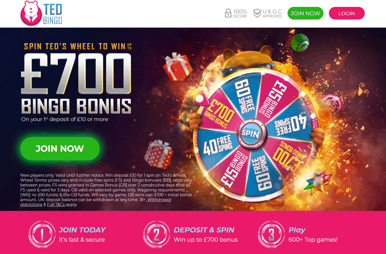 Ted Bingo free spins and bonus codes