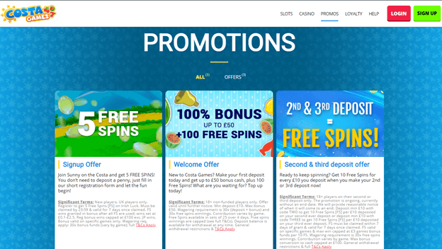 CasinoCostaGames Promotions