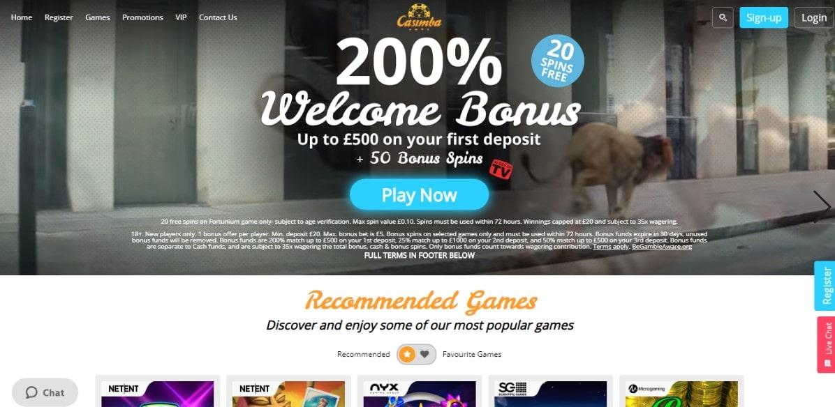 casimba casino main page