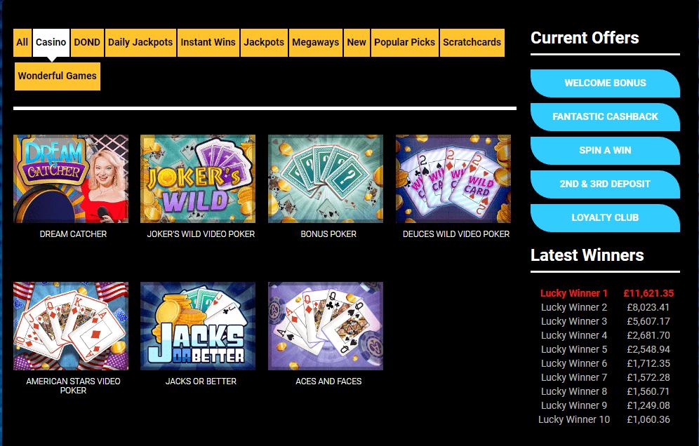 fantastic spins Games Variety