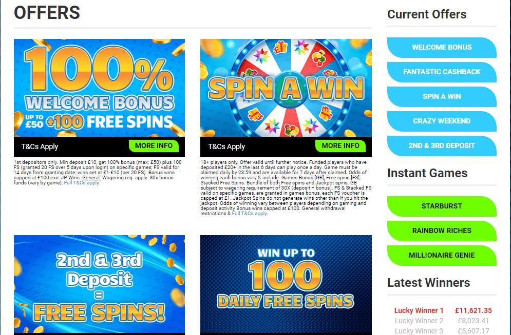 fantastic spins bonuses