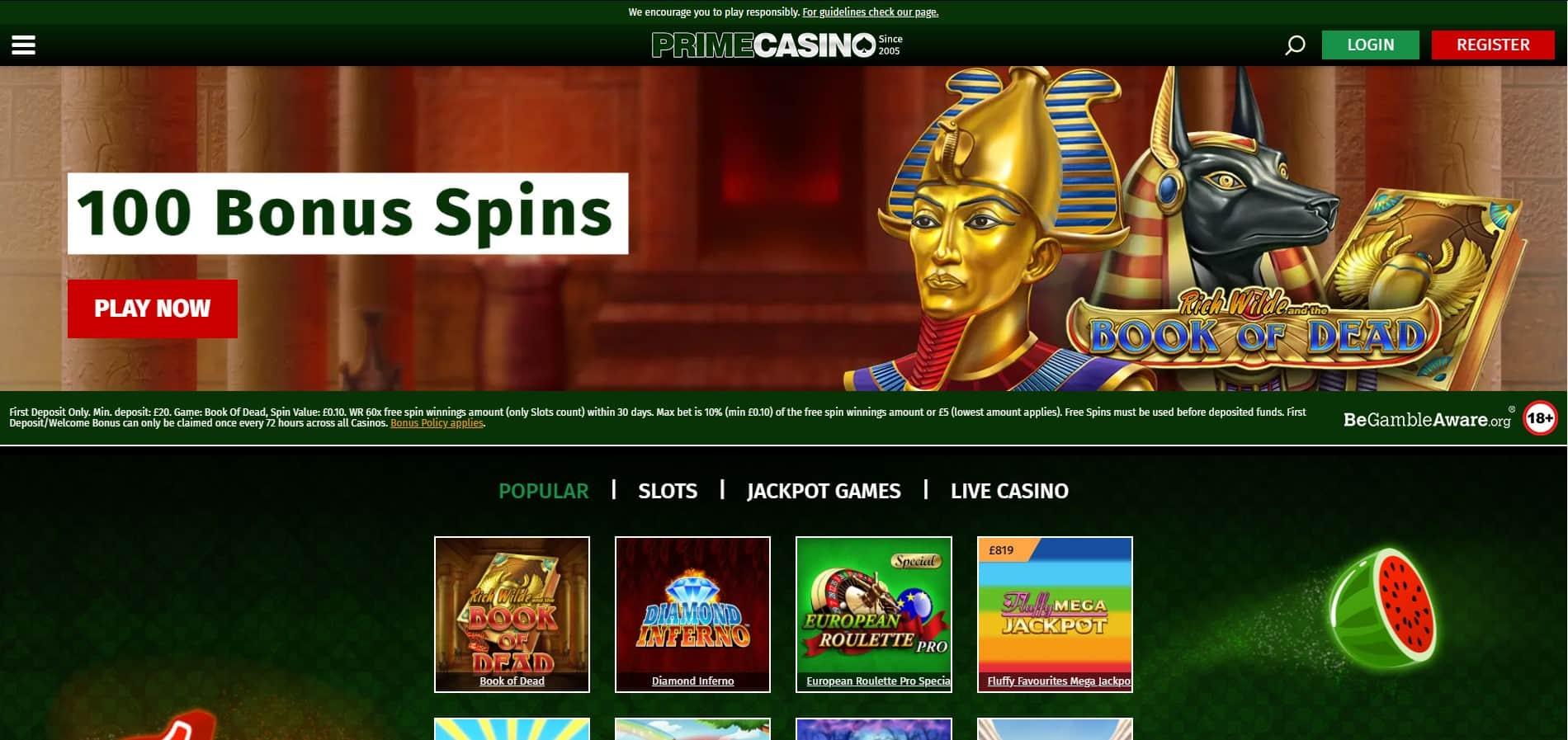 prime casino bonuses
