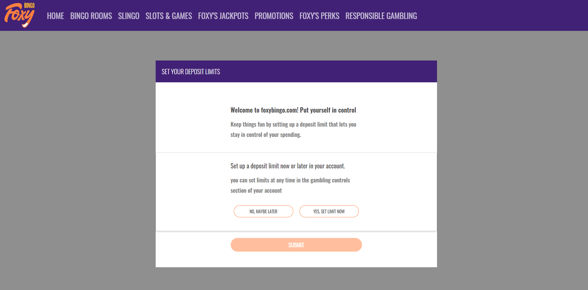 foxy bingo set deposit limits