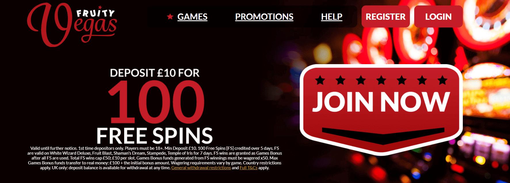 fruity vegas casino bonus