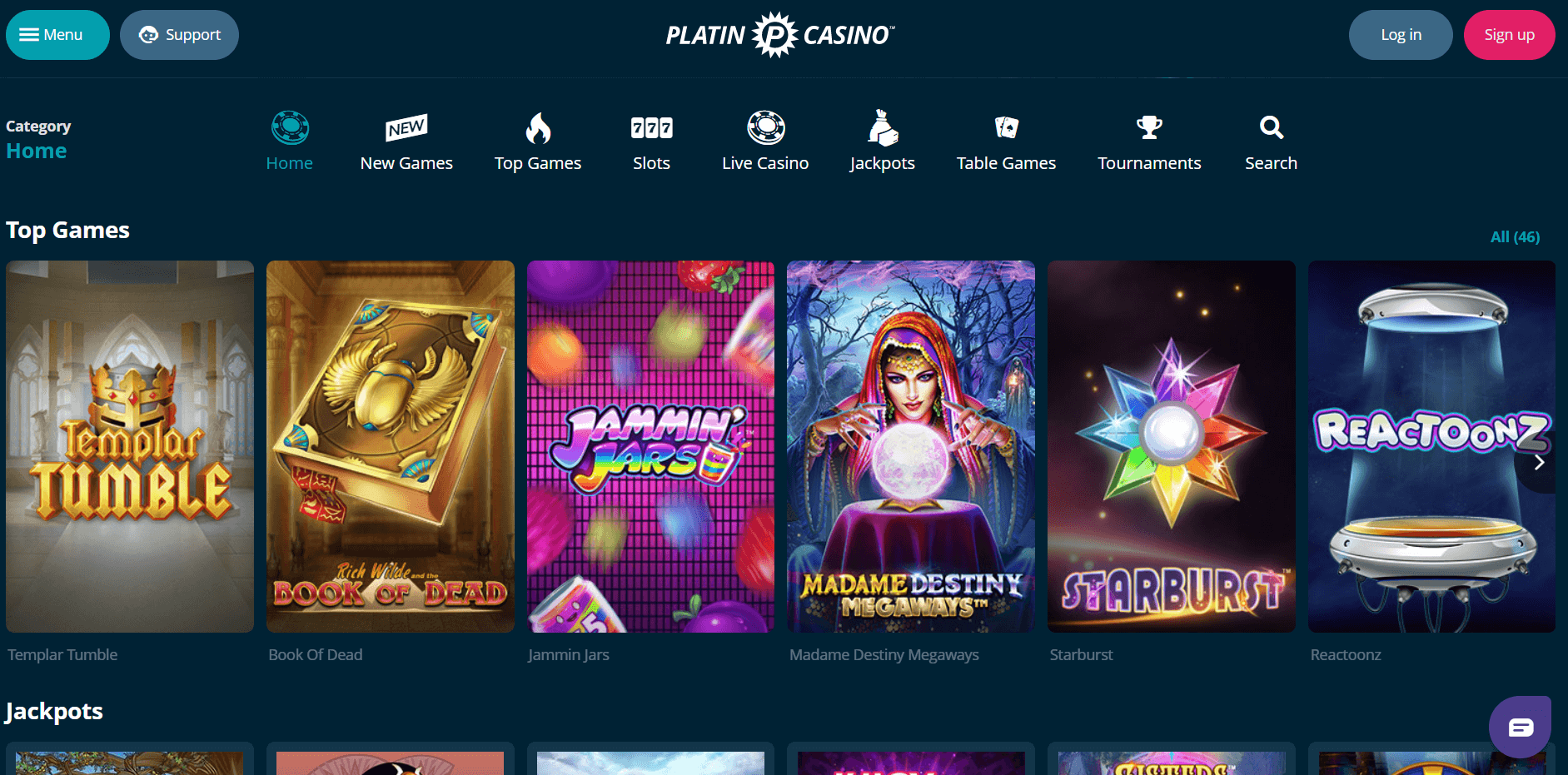 Platincasino slot games