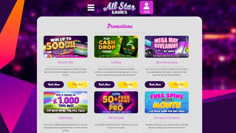 all star games casino promotions