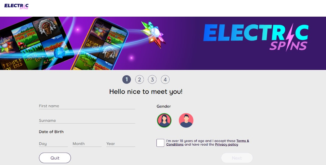 electric spins account creation