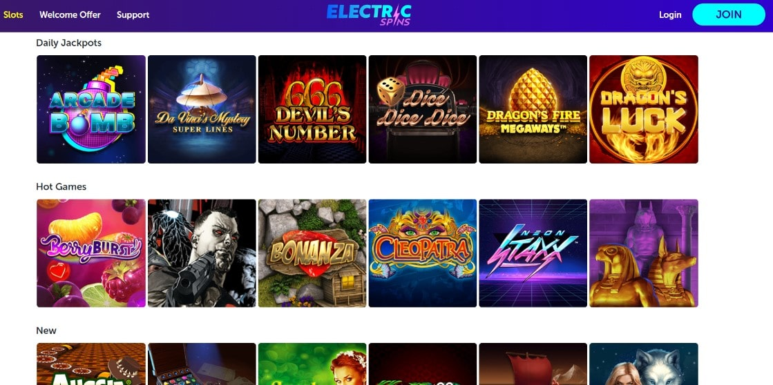 electric spins games and slots