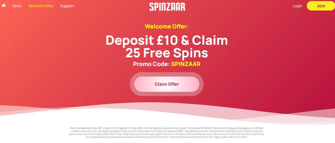 spinzaar welcome offer