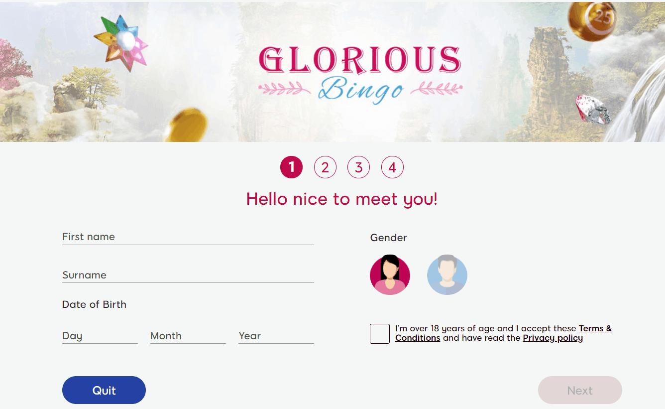 Glorious Bingo welcome bonus