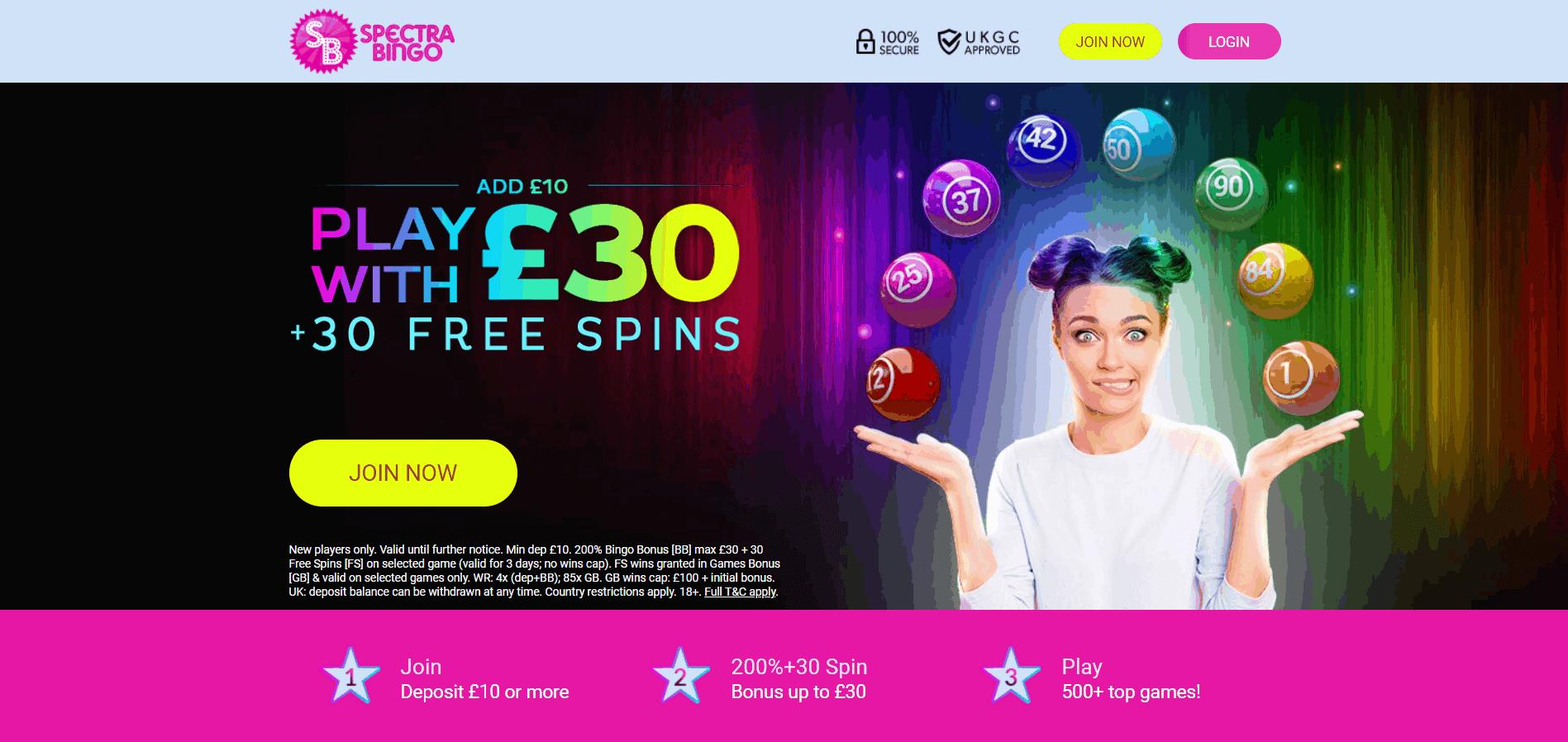 Spectra Bingo welcome bonus