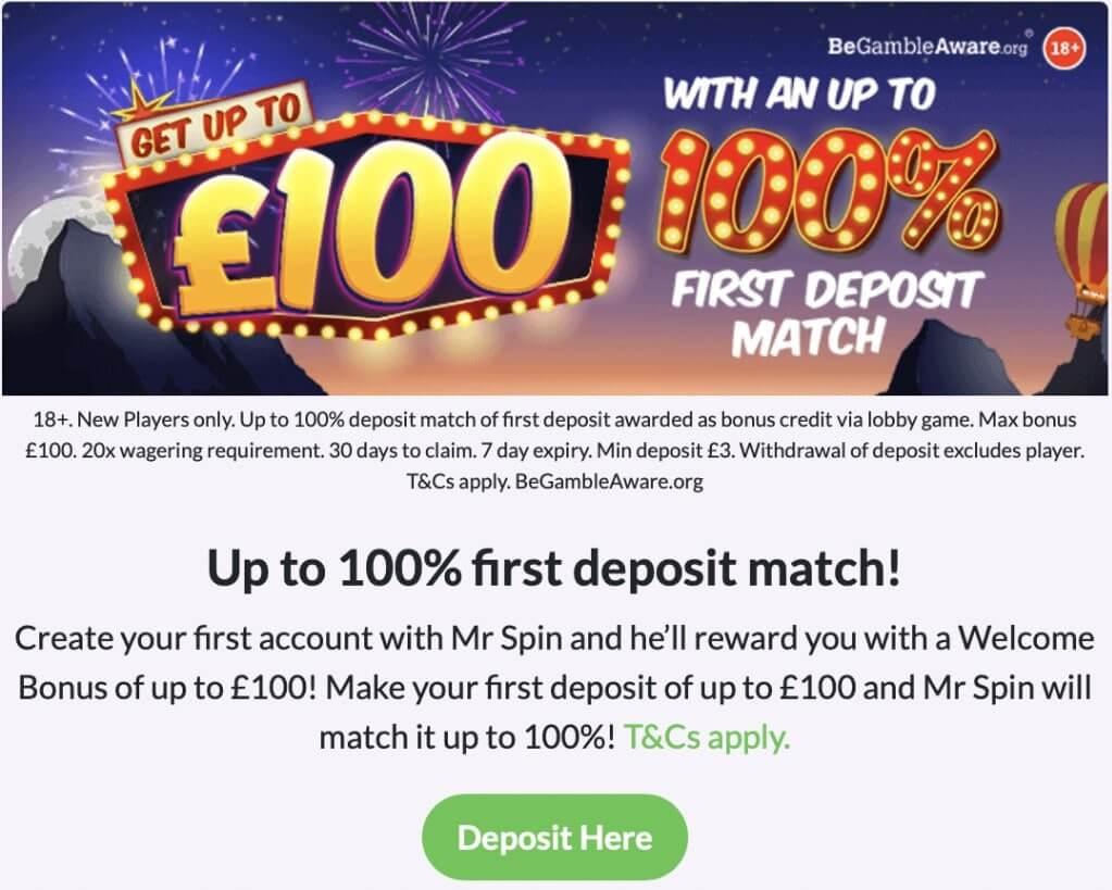 mr spin first deposit offer