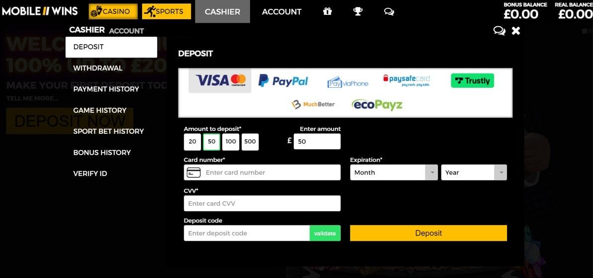 mobilewins deposit methods