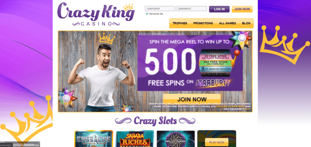 Crazy King Casino Bonuses