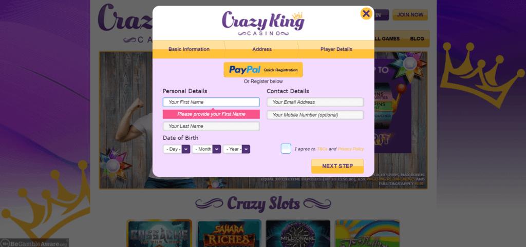Crazy King Casino Login