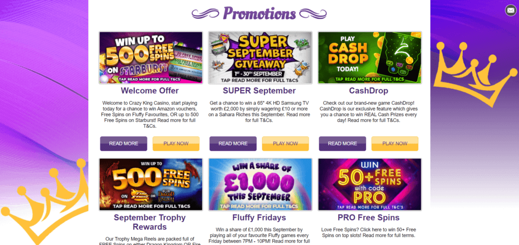 Crazy King Promotions