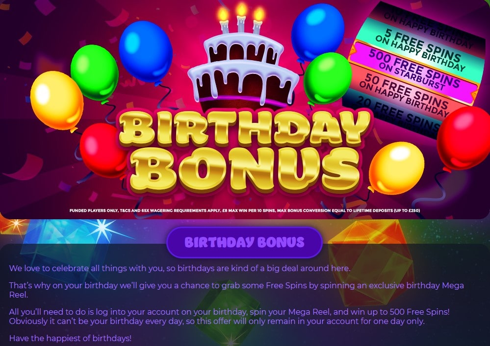 crystal slots birthday bonus