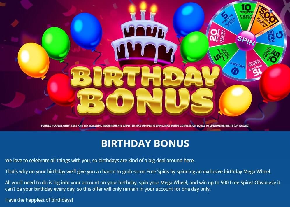 Dove Bingo Birthday Bonus