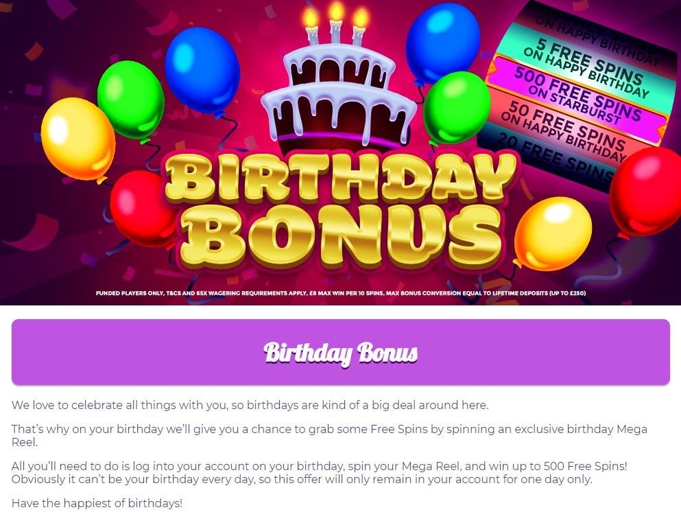 fairground slots birthday bonus