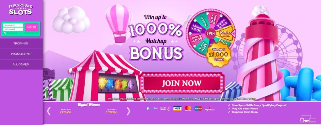fairground slots casino promo code