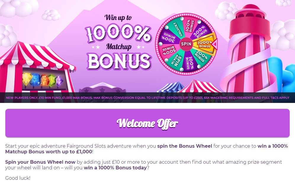 fairground slots welcome offer