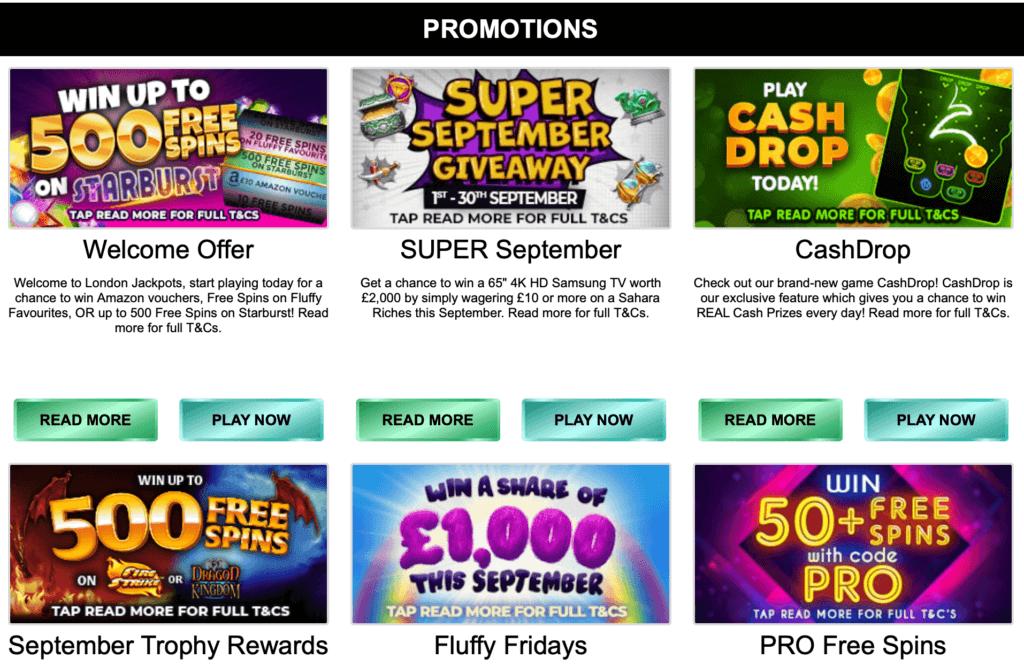 London Jackpots Promotions