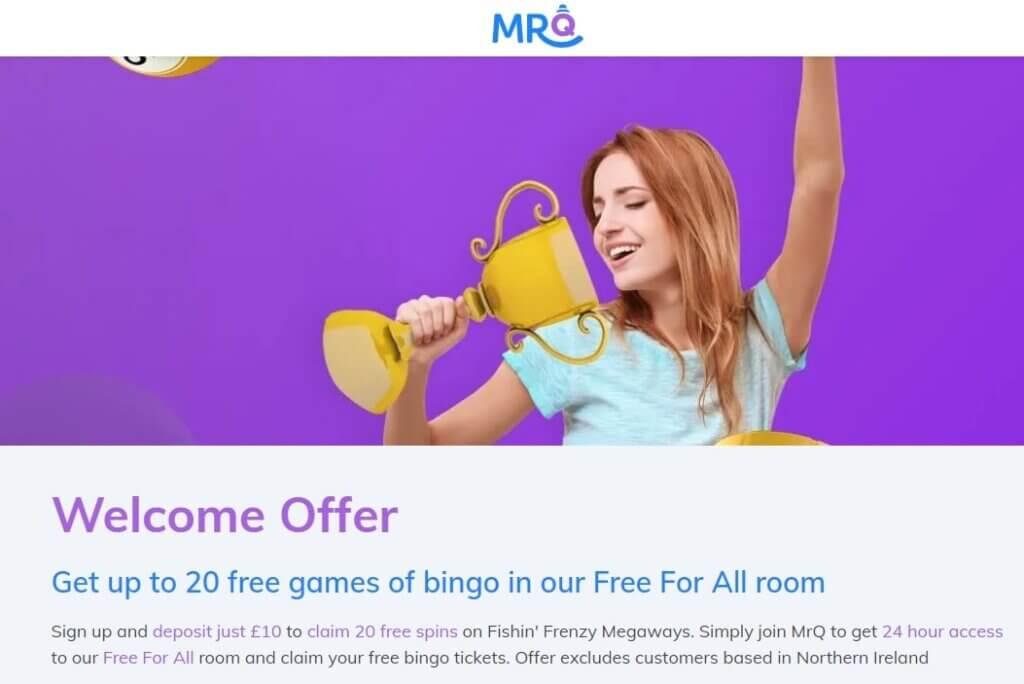 mrq bingo no deposit welcome bonus