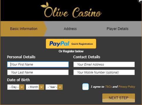 olive casino registration and login