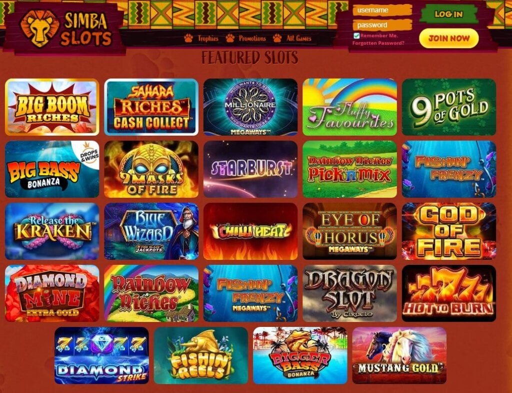 simba slots games
